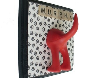 Dog Leash Hanger  -Single Tail -  Little Paws  - Customize with Optional Letter Tiles