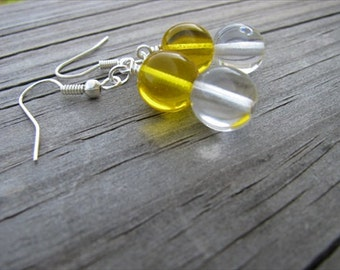 Yellow and Clear Glass Beaded Earrings