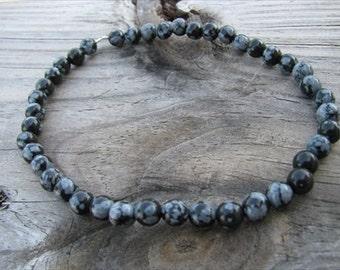 Beaded Ankle Bracelet- Snowflake Obsidian Stone- Stone Anklet