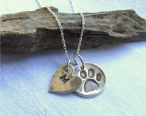 Pet Memorial Necklace, Pawprint Necklace, Personalized Pet Necklace, Silver Heart And Pawprint