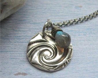 Sterling Labradorite Necklace, Silver Wave Necklace, Labradorite Jewelry, Artisan Silver