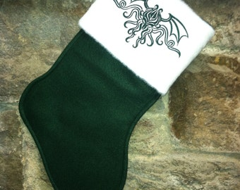 Cthulhu Crest Embroidered Christmas Stocking