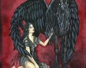 "SALE: Fairy And Pegasus Art Print / Horse Fantasy Art / Winged Horse / Black Horse / Friesian Artwork / ""Guardian Angel"""