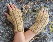 Organic Wool and Naturally Dyed - Yellow Ochre Mustard Cable Fingerless Mittens in pure wool