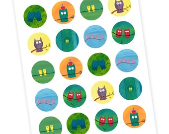 20 Owl Art Stickers - Owl Party Favors