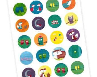 20 STICKERS - Owl and Fox Sticker Sticker Sheet