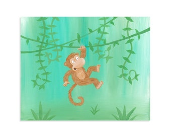 Monkey Nursery Decor - Monkey Nursery Art - Girl Monkey Nursery - Jungle Nursery