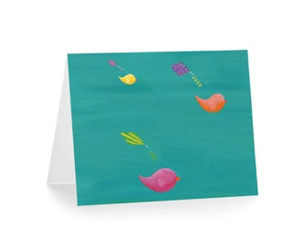 Birds Flying Kites Card - Thank You Blank Card