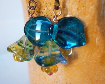 Blue Trumpet Lily - Floral Dangle Earrings