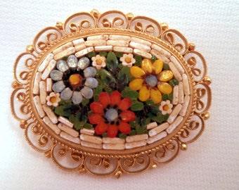 Vintage Filigree Mosaic Brooch Flowers