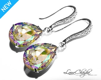 Luminous Green Crystal Earrings Rhinestone Silver Wedding Earrings Swarovski Luminous Green Teardrop Earrings Wedding Bridesmaids Earrings
