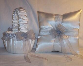 White Satin With Silver Ribbon Trim Flower Girl Basket And Ring Bearer Pillow Set 4