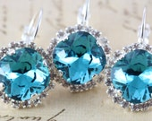 Teal Bridesmaid Earrings Bridal Party Gift Set of 8 Pairs Bridesmaid Gift Silver Turquoise Teal Wedding Dangle Swarovski Crystal Earrings