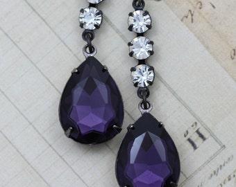 Dark Purple Earrings Black Gunmetal Earrings Crystal Earrings Long Earrings Vintage Style Earring Black Pear Teardrop Unique Earrings Dangle