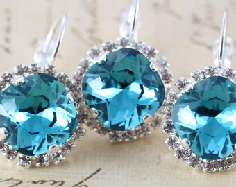 Bridesmaid Earrings Teal Blue Green WeddingSet of 6 Pairs Clip On Avail Bridal Party Gift Bridesmaid Gift Silver Swarovski Crystal