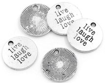 Word Charms Pendants Live Love Laugh Charms Antiqued Silver Quote Charms-5pcs