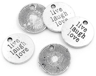 Word Charms Quote Charms LIVE LAUGH LOVE Charms Antiqued Silver Charms Stamped Charms Inspirational Charms Word Pendants 20mm 5 pieces