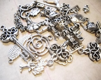 Bulk Charms Pendants Antiqued Silver Assorted Charms Pendants Grab Bag Large Lot 100pcs
