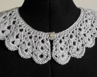 Lace Collar Silver Grey Lurex Retro Vintage Style Peter Pan  Crochet