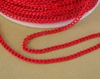 Red Electroplated  Twist  Curbe Chain Colored Chain-15 ft.