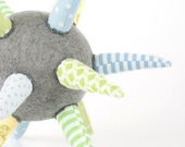 cloth ball - funky light gray ball or Star all handmade in Green, blue, Yellow, mint striped Floral & polka dots