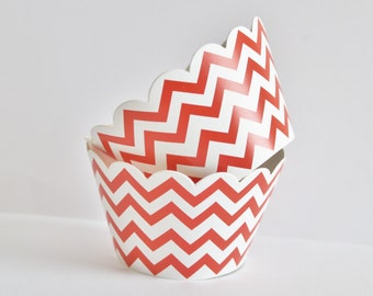 Chevron Cupcake Wrappers, Orange Chevron Cupcake Liners, Baking Cups, Chevron Cupcake Cups, Chevron Wedding, Baby Shower, Birthday Party, 12