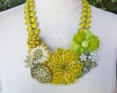 Statement Necklace, Vintage Necklace, Vintage Enamel Flower Bib, Rhinestones, Sparkle, Thermoset, Bakelite, Glamour - Luscious Lemon