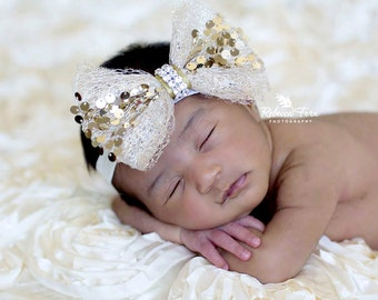 Baby headband, newborn headband, adult headband, child headband and photography prop The single sprinkled-Holiday sequin headband
