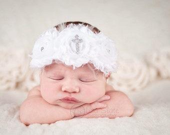 Christening headband, Baby headband, newborn headband, baptism,  headband, photo prop, christening baby CROSS chiffon headband
