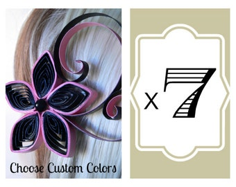 7 Black and Pink Wedding Hair Accessories, Pink and Black Wedding Hair Clips, 7 Bridesmaids