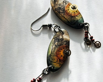 Clockwork orange , resin earrings, tangerine orange, harvest gold , olive green , sepia, steampunk style earrings, gears