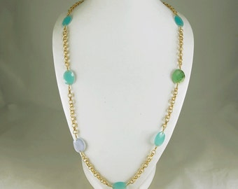 SALE CHALCEDONY and Sterling Silver Gold Vermeil Station CHAIN with Chrysophase Detail Stone Gift Item