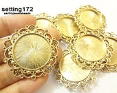 3 pcs Antique Gold Regal Round Setting Bezel 1 inch inset (SETTING172-AG)