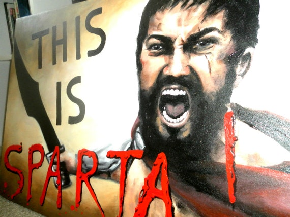 "This Is SPARTA Unique Original Large 20""X30""X3/4"" Fine Art Realistic Painting Acrylic on Stretched Canvas King Leonidas"