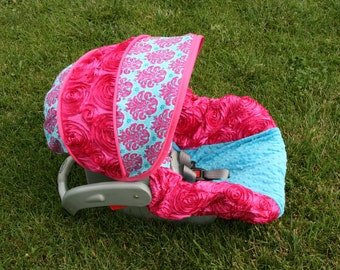 3d Pink Rose with turquoise and pink damask turquiose minky Infant car seat cover - Custom order- Comes with Free Strap Covers