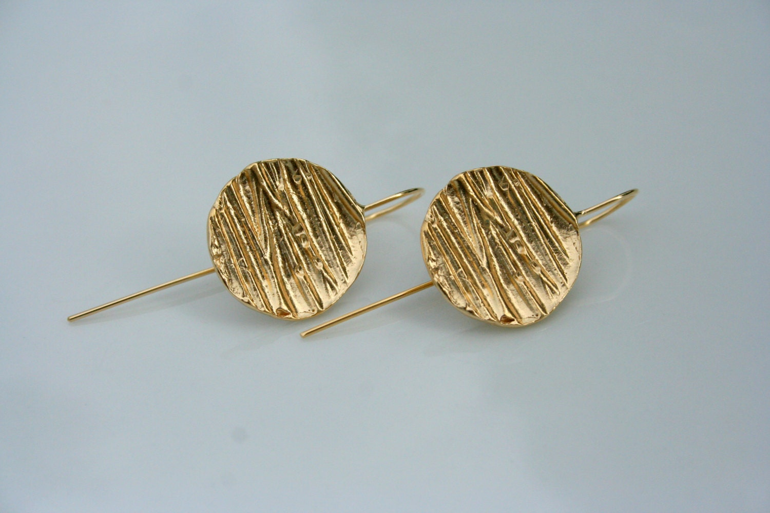 Gold Coin earrings, Long gold earrings, gold dangles