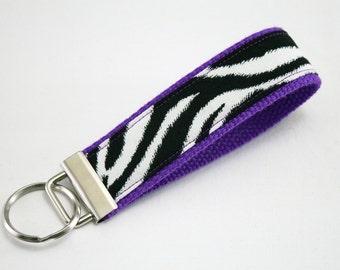 Fabric Key Fob, Key Chain, Key Ring, Key Holder, Wristlet Key Fob, Wristlet Keychain, Fabric Key fobs-Zebra purple