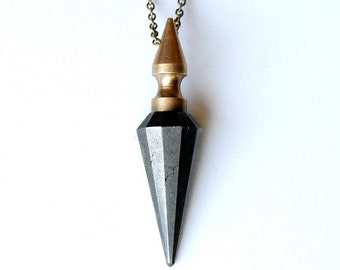 AMULET dark pyrite pendulum spike necklace