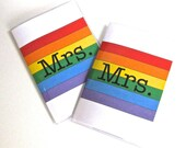 Vinyl Passport Holder / Cover - Mrs & Mrs in Rainbow - Perfect for Gay Pride Destination Weddings and Honeymoon Travel Set of 2