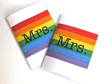 Vinyl Passport Holder / Cover - Mrs & Mrs in Rainbow - Perfect for Gay Pride Destination Weddings and Honeymoon Travel Set of 2