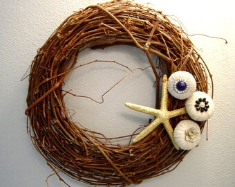 Spring Wreath, Starfish Wreath, Seashell Wreath, Beach Decor -- Natural Starfish and Sea Urchin Wreath (sm) - 'What a Stud'