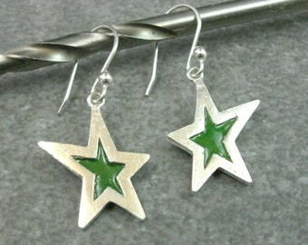 Enamel Star Earrings- Fine Silver and Enamel Jewelry- Celestial Jewelry- Left & Right Design- Star Jewelry- Dangle Earrings- Womens Jewelry