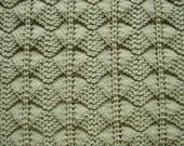 Hand-Knit Baby Blanket Afghan in Light Neutral Sage Green, Gender Neutral Shower Gift
