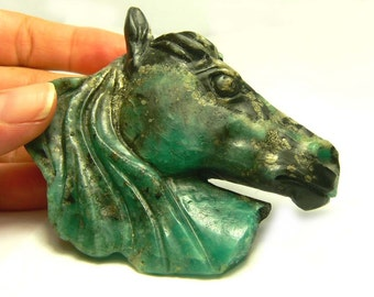 663.0cts Natural Colombian Emerald Carved Horse Head
