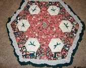 Christmas Tree Skirt - Biscuit Quilted - Country Snowmen