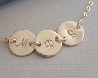 Tiny Initial Disc Gold Necklace,  Disc Personalized Necklace, Mother Sister Family Children Best Friends Necklace, 1 2 3 4 5 6 7 8 Discs