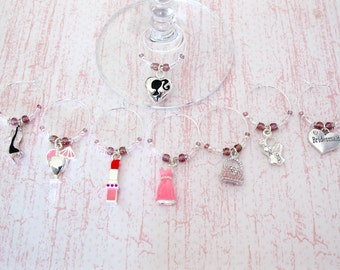 Bridesmaid Wine Charms - Set of 8 Bridal Party Wine Glass Charms
