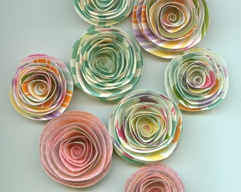 Easter Inpired Spiral Paper Flowers use for scrapbooking, photo projects, cards