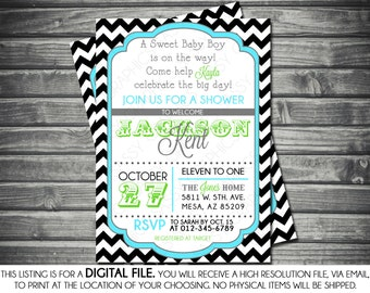 Boys Baby Shower Invitation - Modern, Chevron, Black, Turquoise, Green, Printable, Digital
