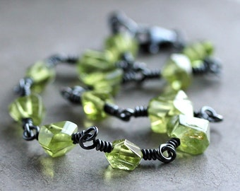 Peridot Birthstone Bracelet, Lime Green Peridot Nugget Oxidized Sterling Silver Wire Wrapped August Birthstone - Kryptonite